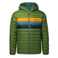 Cotopaxi Men's Fuego Down Hooded Jacket - Avocado Stripes, Medium 2020-21 at Northern Ski Works