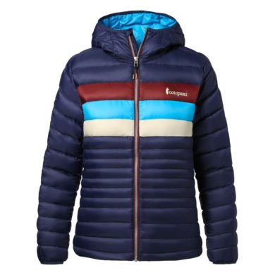 Cotopaxi Women's Fuego Down Hooded Jacket - Maritime Stripes, Small 2020-21 at Northern Ski Works