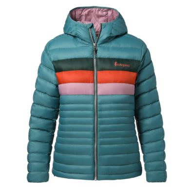 Cotopaxi Women's Fuego Down Hooded Jacket - Submarine Stripes, Small 2020-21 at Northern Ski Works