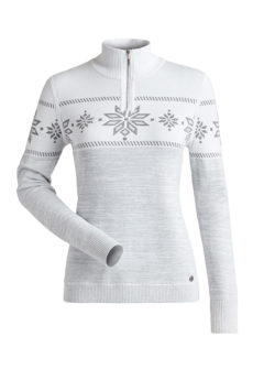 Nils Women's Snowflake Sweater - White/Silver Metallic Marled, Small 2020-21 at Northern Ski Works