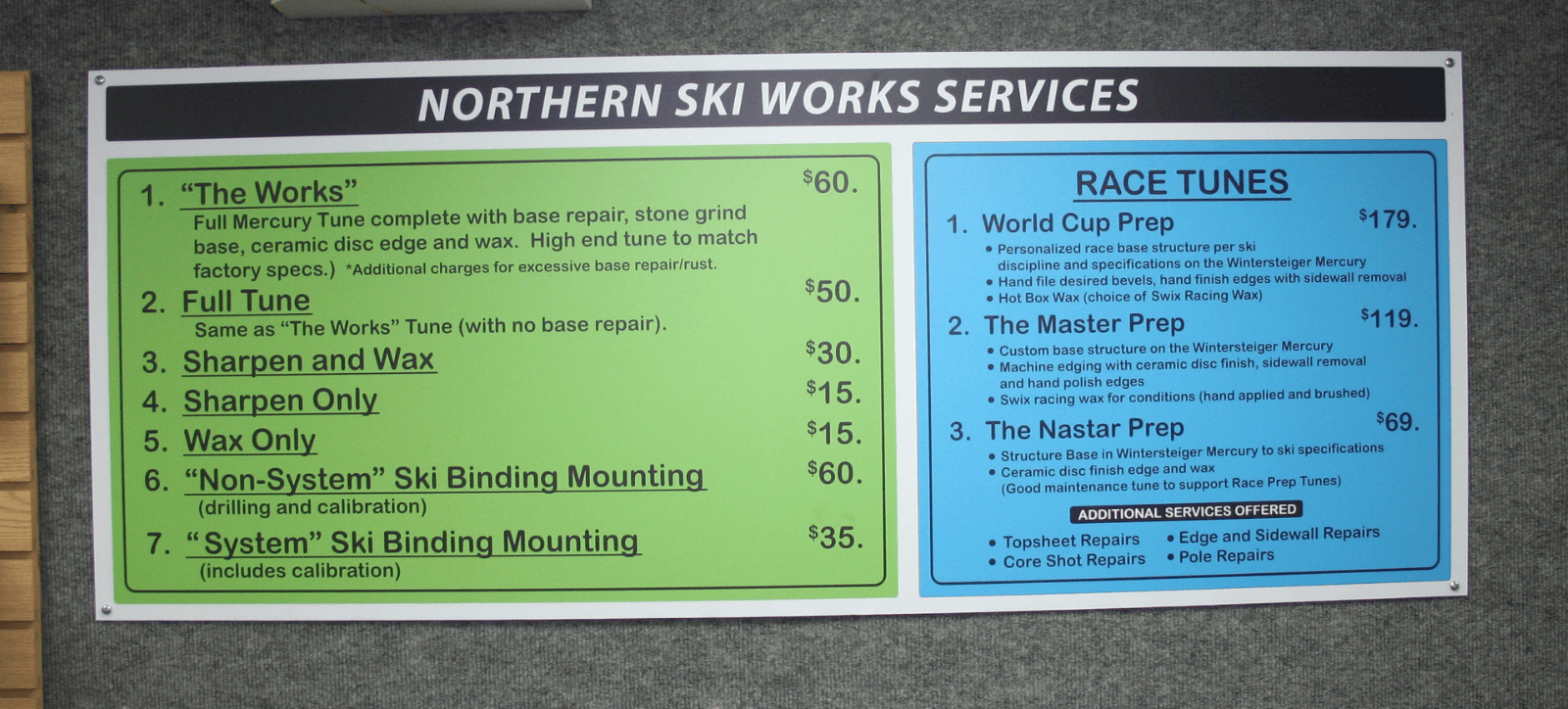 Northern Ski Works Tuning Services