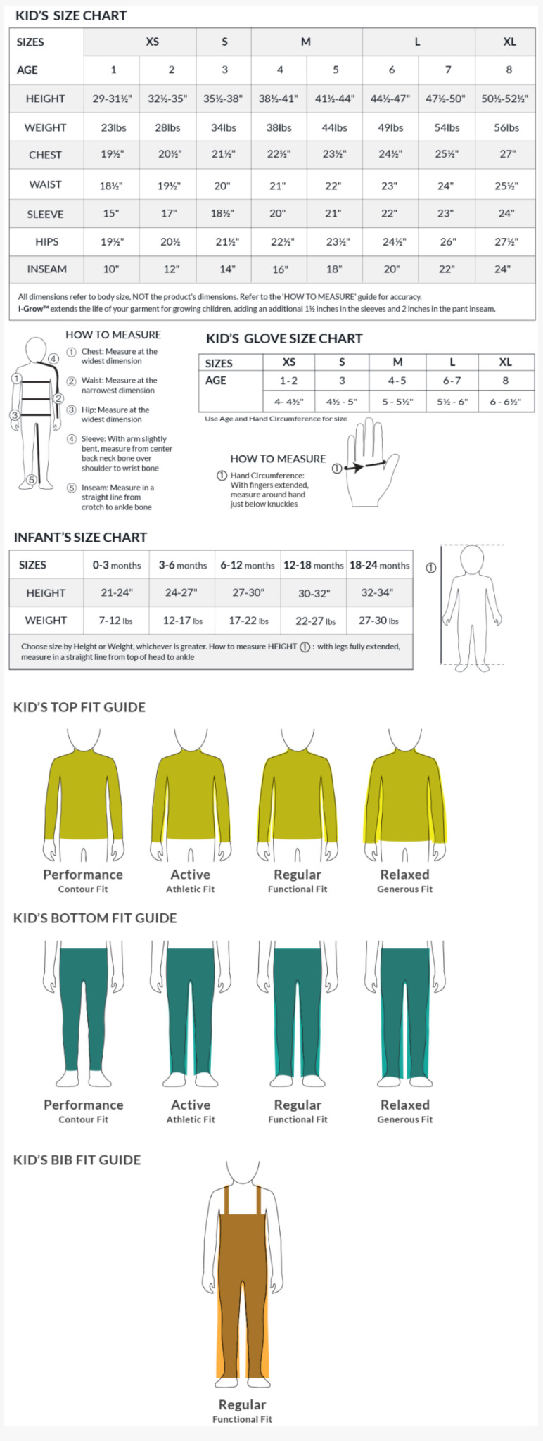 Obermeyer Kids Size Chart