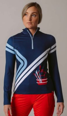 Krimson Klover Going Up 1/4 Zip Mid Weight Base Layer Top - Indigo, Small at Northern Ski Works
